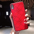 Unique Lattice Hermes Genuine Leather Back Covers Holster Cases For iPhone 8 Plus - Red