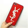 Unique Skin Casing YSL Leather Back Covers Holster Cases For iPhone 8 Plus - Red