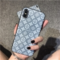 Classic Flower LV Supreme Leather Back Covers Holster Cases For iPhone X - Grey