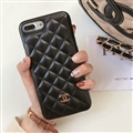 Classic Lattices Chanel Leather Hanging Rope Covers Soft Cases For iPhone X - Black