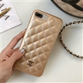 Classic Lattices Chanel Leather Hanging Rope Covers Soft Cases For iPhone X - Gold
