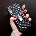 Classic Lattices Chanel Leather Perfume Bottle Covers Soft Cases For iPhone X - Black