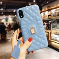 Classic Lattices Chanel Leather Perfume Bottle Covers Soft Cases For iPhone X - Blue