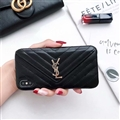 Classic Lattices YSL Leather Back Covers Soft Cases For iPhone X - Black
