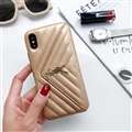 Classic Lattices YSL Leather Back Covers Soft Cases For iPhone X - Gold