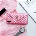 Classic Lattices YSL Leather Back Covers Soft Cases For iPhone X - Pink