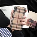Classic Stripe Shell Burberry Leather Back Covers Metal Cases For iPhone X - Brown