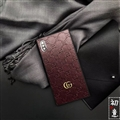 Classic Stripe Shell Gucci Leather Back Covers Metal Cases For iPhone X - Brown
