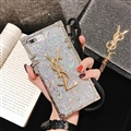 Crossbody YSL Silicone Lanyard Cases Hard Back Covers for iPhone X - Silver