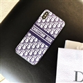 Fashion Dior Leather Pattern Cases Hard Back Covers for iPhone X - Blue