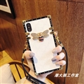 Gucci Faux Leather Honeybee Lanyards Cases Shell For iPhone X Silicone Soft Covers - White