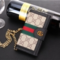 Gucci Lattice Strap Flip Leather Cases Chain Book Genuine Holster Cover For iPhone X - Gray