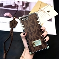 Michael Kors MK Faux Leather Ribbon Lanyards Cases Shell For iPhone X Silicone Soft Covers - Brown
