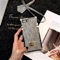 Michael Kors MK Faux Leather Ribbon Lanyards Cases Shell For iPhone X Silicone Soft Covers - Grey