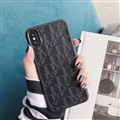 Personalized Dior Leather Pattern Cases Soft Back Covers for iPhone X - Black
