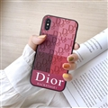 Retro Skin Casing Dior Leather Back Covers Holster Cases For iPhone X - Rose White