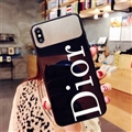 Round Dior Marble Aurora Laser Shell Glass Covers Protective Back Cases For iPhone X - Black