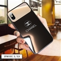 Unique Chanel Glass Mirror Surface Silicone Glass Covers Protective Back Cases For iPhone X - Black