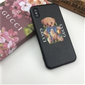 Cartoon Bear Shell Gucci Leather Back Covers Holster Cases For iPhone XS Max - Black