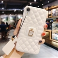 Classic Lattices Chanel Leather Perfume Bottle Covers Soft Cases For iPhone XS Max - White