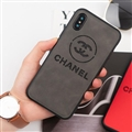 Classic Shell Chanel Genuine Leather Back Covers Holster Cases For iPhone XS Max - Grey