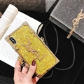Crossbody YSL Silicone Lanyard Cases Hard Back Covers for iPhone XS Max - Gold