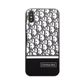 Fashion Dior Leather Pattern Cases Hard Back Covers for iPhone XS Max - Black