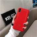 Personalized Versace Leather Pattern Shell Hard Back Covers for iPhone XS Max - Red
