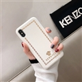 Personalized Versace Leather Pattern Shell Hard Back Covers for iPhone XS Max - White