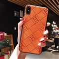 Unique Lattice Hermes Genuine Leather Back Covers Holster Cases For iPhone XS Max - Orange