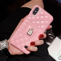Classic Lattices Chanel Leather Perfume Bottle Covers Soft Cases For iPhone XR - Pink