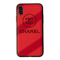 Classic Shell Chanel Genuine Leather Back Covers Holster Cases For iPhone XR - Red