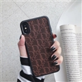 Personalized Dior Leather Pattern Cases Soft Back Covers for iPhone XR - Brown
