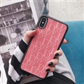 Personalized Dior Leather Pattern Cases Soft Back Covers for iPhone XR - Pink