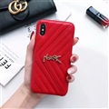 Classic Lattices YSL Leather Back Covers Soft Cases For iPhone XS - Red