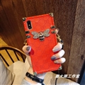Gucci Faux Leather Honeybee Lanyards Cases Shell For iPhone XS Silicone Soft Covers - Red