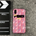 Roma Fendi Leather Pattern Cases Hard Back Covers for iPhone XS - Pink