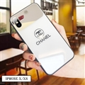 Unique Chanel Glass Mirror Surface Silicone Glass Covers Protective Back Cases For iPhone XS - White