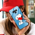 Cartoon Snoopy Glass Mirror Surface Silicone Glass Covers Protective Back Cases For Samsung Galaxy Note9 - Blue