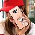 Cartoon Snoopy Glass Mirror Surface Silicone Glass Covers Protective Back Cases For Samsung Galaxy Note9 - Orange