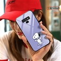 Cartoon Snoopy Glass Mirror Surface Silicone Glass Covers Protective Back Cases For Samsung Galaxy Note9 - Purple