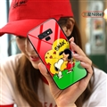 Cartoon Snoopy Glass Mirror Surface Silicone Glass Covers Protective Back Cases For Samsung Galaxy Note9 - Red