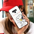 Cartoon Snoopy Glass Mirror Surface Silicone Glass Covers Protective Back Cases For Samsung Galaxy Note9 - White