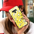 Cartoon Snoopy Glass Mirror Surface Silicone Glass Covers Protective Back Cases For Samsung Galaxy Note9 - Yellow