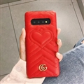 Classic Gucci Leather Pattern Shell Hard Back Covers For Samsung Galaxy S10 - Red