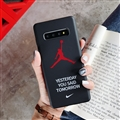 Fashion AJ Jordan Mirror Surface Cases Shell For Samsung Galaxy S10 Silicone Soft Covers - Black