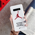 Fashion AJ Jordan Mirror Surface Cases Shell For Samsung Galaxy S10 Silicone Soft Covers - White