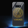 Internet Celebrity Golden Versace Glass Mirror Surface Silicone Glass Covers Protective Back Cases For Samsung Galaxy S10E - Black
