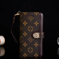 LV Flower Strap Flip Leather Cover Button Book Genuine Holster Shell For Samsung Galaxy S10 - Brown