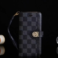 LV Lattice Strap Flip Leather Cover Button Book Genuine Holster Shell For Samsung Galaxy S10 - Black